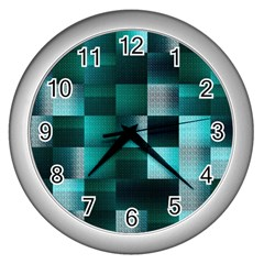 Background Squares Metal Green Wall Clocks (silver)