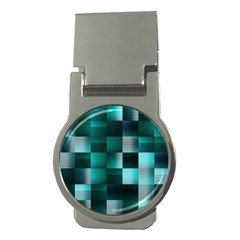 Background Squares Metal Green Money Clips (round)