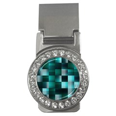 Background Squares Metal Green Money Clips (cz)  by Nexatart