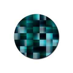 Background Squares Metal Green Rubber Coaster (round)  by Nexatart