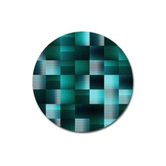 Background Squares Metal Green Magnet 3  (round)
