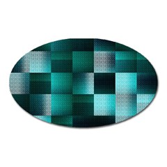 Background Squares Metal Green Oval Magnet