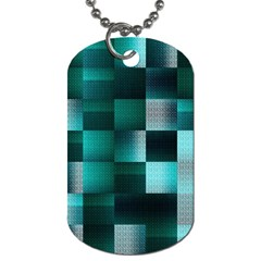 Background Squares Metal Green Dog Tag (one Side)