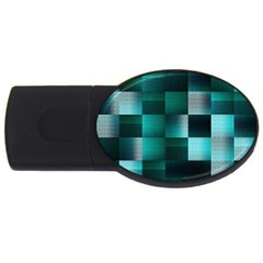 Background Squares Metal Green Usb Flash Drive Oval (2 Gb)