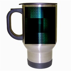 Background Squares Metal Green Travel Mug (silver Gray)