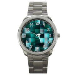 Background Squares Metal Green Sport Metal Watch