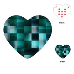 Background Squares Metal Green Playing Cards (heart)
