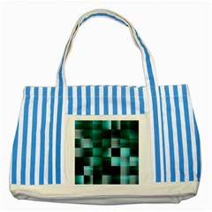 Background Squares Metal Green Striped Blue Tote Bag