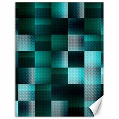 Background Squares Metal Green Canvas 12  X 16