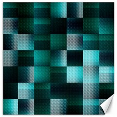 Background Squares Metal Green Canvas 16  X 16