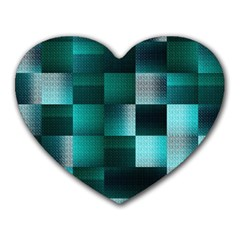 Background Squares Metal Green Heart Mousepads