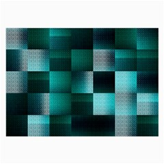 Background Squares Metal Green Large Glasses Cloth