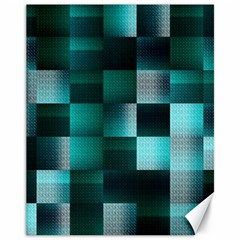 Background Squares Metal Green Canvas 11  X 14