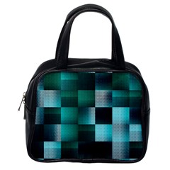 Background Squares Metal Green Classic Handbags (one Side)