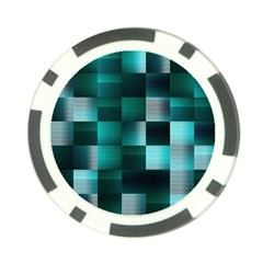 Background Squares Metal Green Poker Chip Card Guard (10 Pack)