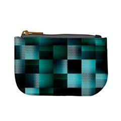 Background Squares Metal Green Mini Coin Purses