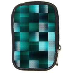 Background Squares Metal Green Compact Camera Cases by Nexatart