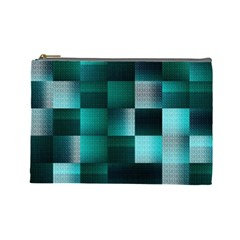 Background Squares Metal Green Cosmetic Bag (large)