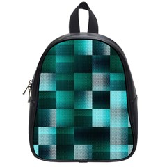 Background Squares Metal Green School Bag (small) by Nexatart