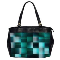 Background Squares Metal Green Office Handbags (2 Sides)  by Nexatart