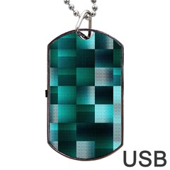 Background Squares Metal Green Dog Tag Usb Flash (two Sides) by Nexatart
