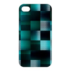 Background Squares Metal Green Apple Iphone 4/4s Hardshell Case