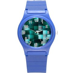 Background Squares Metal Green Round Plastic Sport Watch (s) by Nexatart