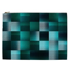 Background Squares Metal Green Cosmetic Bag (xxl)