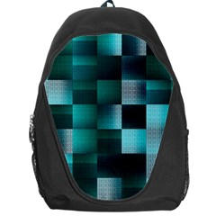Background Squares Metal Green Backpack Bag