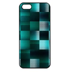 Background Squares Metal Green Apple Iphone 5 Seamless Case (black) by Nexatart