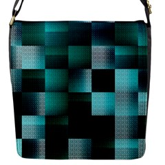 Background Squares Metal Green Flap Messenger Bag (s)