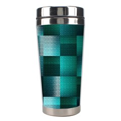 Background Squares Metal Green Stainless Steel Travel Tumblers by Nexatart