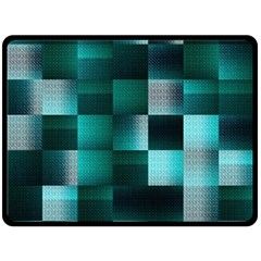 Background Squares Metal Green Double Sided Fleece Blanket (large)