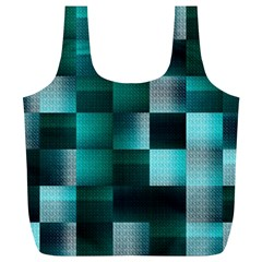 Background Squares Metal Green Full Print Recycle Bags (l)