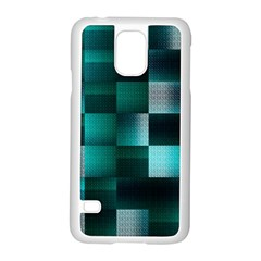 Background Squares Metal Green Samsung Galaxy S5 Case (white) by Nexatart