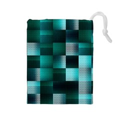 Background Squares Metal Green Drawstring Pouches (large)