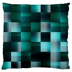 Background Squares Metal Green Large Flano Cushion Case (two Sides)