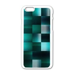 Background Squares Metal Green Apple Iphone 6/6s White Enamel Case