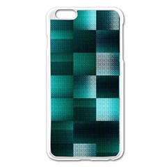 Background Squares Metal Green Apple Iphone 6 Plus/6s Plus Enamel White Case by Nexatart