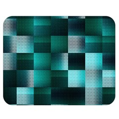 Background Squares Metal Green Double Sided Flano Blanket (medium)  by Nexatart