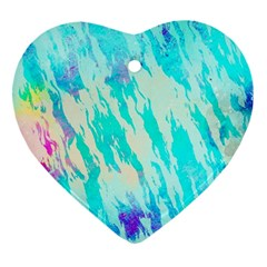 Blue Background Art Abstract Watercolor Ornament (heart)