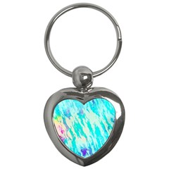 Blue Background Art Abstract Watercolor Key Chains (heart)