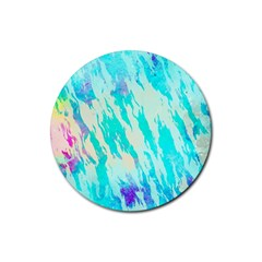 Blue Background Art Abstract Watercolor Rubber Coaster (round)