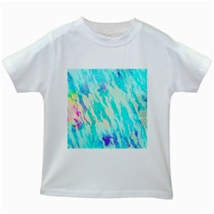 Blue Background Art Abstract Watercolor Kids White T Shirts