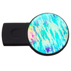 Blue Background Art Abstract Watercolor Usb Flash Drive Round (2 Gb)