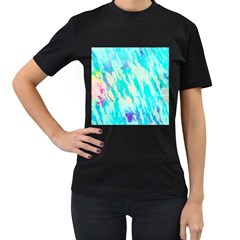 Blue Background Art Abstract Watercolor Women s T Shirt (black) (two Sided)