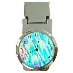 Blue Background Art Abstract Watercolor Money Clip Watches