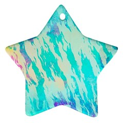 Blue Background Art Abstract Watercolor Star Ornament (two Sides)