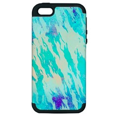 Blue Background Art Abstract Watercolor Apple Iphone 5 Hardshell Case (pc+silicone)