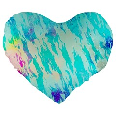 Blue Background Art Abstract Watercolor Large 19  Premium Heart Shape Cushions by Nexatart